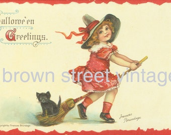 Frances Brundage Halloween Witch Girl With Black Kitten on Broom Downloadable Printable Digital Art Image