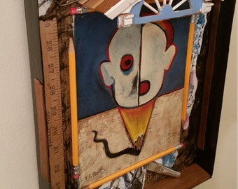 Artist in Residence Wall Hanging Art 3D Assemblage with Original Painting and Found Objects by Tree Pruitt 11 by 14 inches
