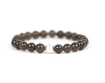 Ice Black Obsidian Bracelet, Obsidian Gemstone, Gemstone Bracelet, Handmade Jewelry, Gemstone Jewelry, unique-gift-for-wife, energy, chakra