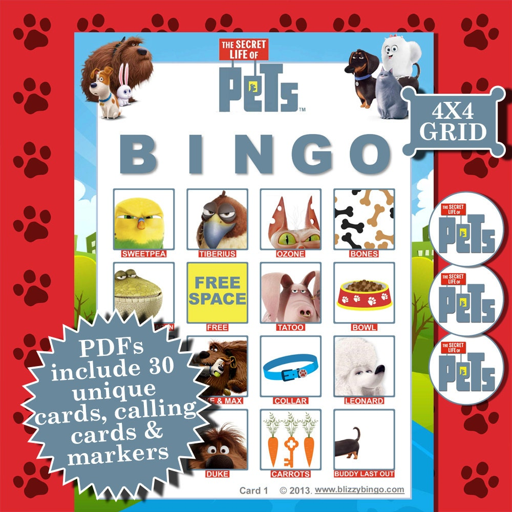 Secret life of pets 4x4 bingo printable pdfs contain for 4x4 bingo template
