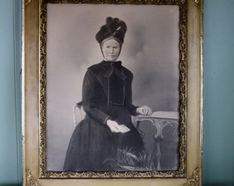 Antique Victorian Mourning Portrait Charcoal Gesso Wood Frame