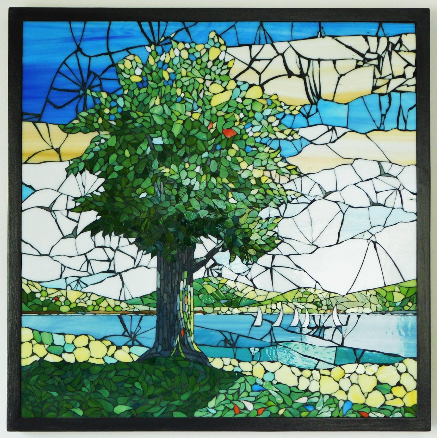 Stained glass mosaic landscape with tree from