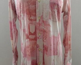 70s Pink Photo Print Disco Blouse S/M