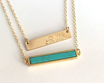 Turquoise Bar Necklace, Gold Bar Necklace layered necklace layering Gold filled chain, Statement Necklace, Custom Necklace Bar