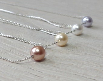 Silver Pearl necklace Bridesmaid jewelry Bridesmaid necklace Dainty pearl necklace Floating pearl Single pearl Maid of honor jewelry wedding