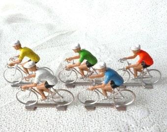 Set of 5 Vintage Cyclist Plastic Figures - Collectible Figurines Tour de France