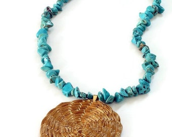 Pendant Necklace Beaded Necklace Genuine Turquoise, Golden Grass Hoop, Eco Friendly, Handmade, Nature Necklace