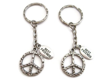 Peace Sign Keychain Set Peace Keychain Set Best Friends Keychains Initial Keychain Peace Gifts  Set