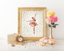 8x10 Art Print, PRINTABLE Ballerina Art Print, Ballet Printable Decor, Instant Art Print, Dance Print, Dance Poster, Ballet Poster, Chic
