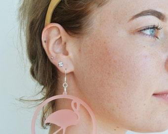 Lightweight Flamingo Earrings - Statement Jewellery - Cute - Kawaii - Wearable Art - Unique - Laser Cut Jewelry
