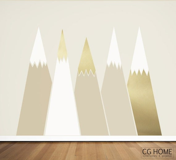 gold MOUNTAIN view headboard Snow mountain for kids big wall washable decal CGhome decoration