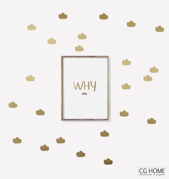 GOLD Cloud decals Nursery Wallpaper Cute stickers CLOUDS wallpaper Cloud Decoration for kids wall decal colors pattern CGhome