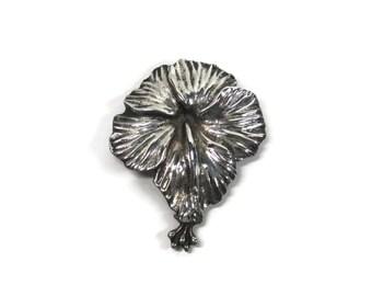 Vintage Sterling Hibiscus Flower Brooch