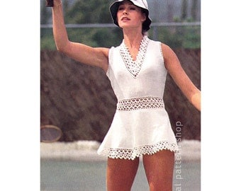 Tennis Dress Pattern Knit Tunic Top Crochet Trim Mini Dress  Knitting Pattern and Crochet Pattern Womens Instant Download PDF- KC5