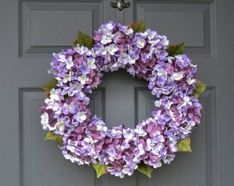 Blended Hydrangea Wreath | Front Door Wreaths | Summer Wreaths | Door Wreath | Purple Wreath | Housewarming Gift