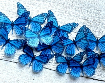 Edible Blue Monarch Wafer Butterfly Collection Set of 12