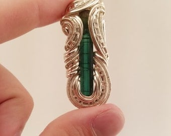 Heady Wire Wrapped Pendant | Tourmaline Wirewrap Pendant | Silver and Gold Jewelry | Unique Jewelry | Heady Hat Pin | 420 710 glass dabs