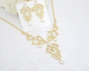 Bridal necklace, Crystal necklace, Wedding jewelry, Statement necklace, Chandelier earrings, Gold earrings, Gold necklace, Jewelry set