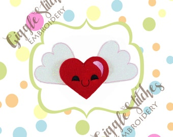 Oversized Heart with Wings Feltie Embroidery Design Set