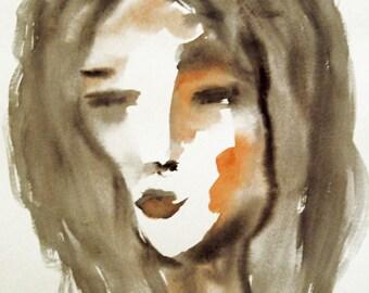 """Portrait Watercolor Painting, Woman""""s Face, Female Portrait, Modern Art, Face Painting, Watercolor Art"""