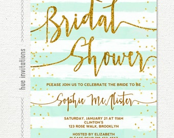 bridal shower invitation, turquoise mint white stripes gold glitter bridal shower brunch invitation, customized printable digital invitatio