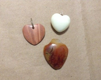 3 vintage heart shaped gemstone and glass pendants