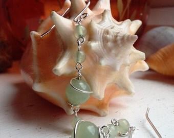 Sterling Silver Green Jade Wire Wrapped Drop Dangle Earrings
