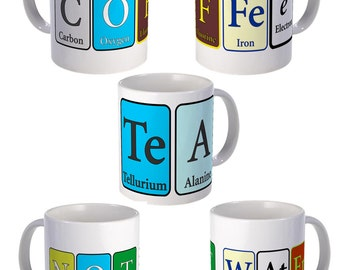 Coffee or Tea Mug with Coffee or Tea written in Periodic Elements of  Chemistry
