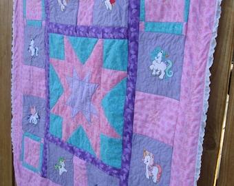 Unicorn Princess Baby Quilt (Lap Quilt)