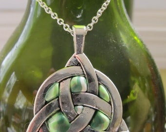 Silver and Polymer Clay Celtic Knot Pendant