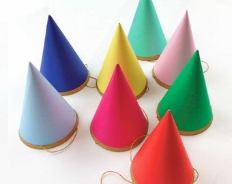 Birthday Party Hats (8), Meri Meri Happy Birthday Hat - Medium Size 4x4x6 - Girl Boy Adult Photo Prop Rainbow Party Wedding Bachelorette