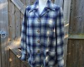 "ORIGINAL 1950's ""Jack Frost Woolen Wear"" Pendelton 49er Style Flannel Shirt Jacket - Tartan - Plaid - M"
