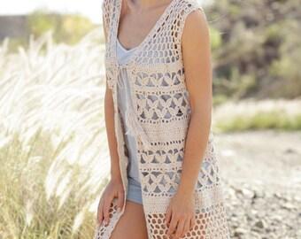 Linen summer vest, cotton  vest, crocheted cotton vest, beachwear