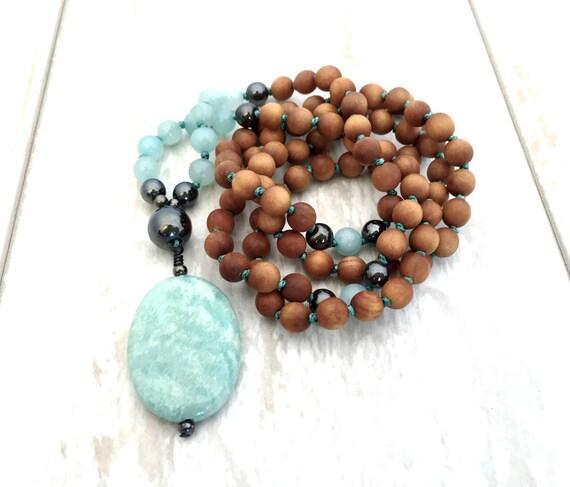Petite Amazonite Mala Necklace, 108 Bead Mala, Fragrant Sandalwood & Hematite Mala, Hand Knotted Meditation Beads, Healing Spiritual Jewelry