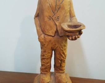 Hand carved wood beggar