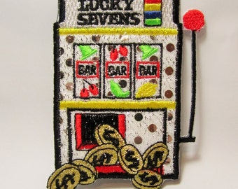 Slot Machine Casino Embroidered Patch, Iron On, Lucky Sevens Gambling, Silver Bling Badge, Applique. Payout Coins, Casino Winner, Betting