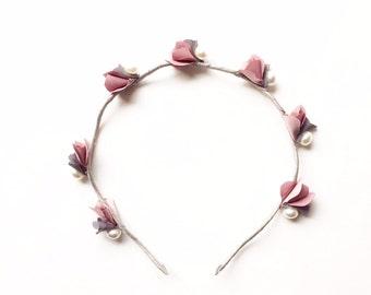 Giselle Headband - Party headband - Boho headband - Flower headband - Woodland headband - Spring blossoms - Adult headband - Mauve flowers
