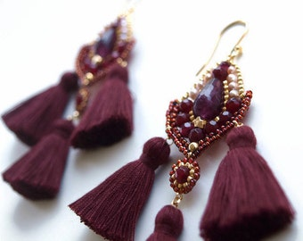 Burgundy Earrings Long Tassel Agate Stone and Seed  Beads Jewelry Red Wine Tassel Gifts Trendy Summer  Birthday Present ideas for Sister