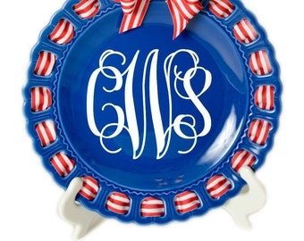 Nautical Plate~Monogrammed Round Plate ~ Prissy Plate ~ Ribbon Plate~Blue and White Plate~Personalized Plate~Wedding Gift~Engagement Gift
