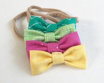 SUMMER SALE - 20% Off. Summer Sorbet MINI Girls Hair Bows - Set of Four (4) // Girls Hair Bows - Includes All 4 Shown. Newborn& Toddler Bows