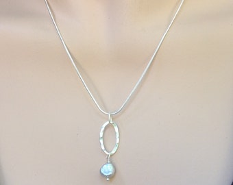 Baroque Pearl Necklace, Sterling Silver Oval and Chain, Handmade by LisaJStudioJeweler.