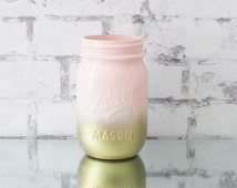 Gold and Pink Ombre Mason Jar - Gold Mason Jar - Girl Baby Shower Decor - Pink Baby Shower