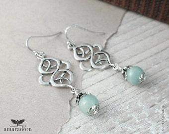 Amazonite Earrings, Seafoam Earrings, Mint and Silver Celtic Earring, Pagan Gemstone Earings, Organic Knot Earrings, Handmade UK