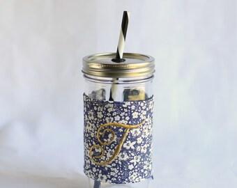 Custom Monogrammed Mason Jar Tumbler | Blue White Floral