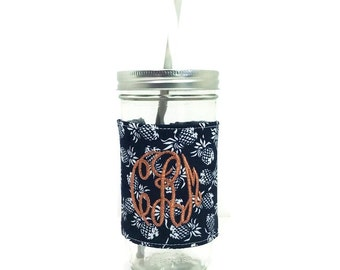 Navy Pineapple Personalized Tumbler, Navy Copper Monogram, Personalized Tumbler, Mason Jar Tumbler, Navy Copper Tumbler, Unique Gift