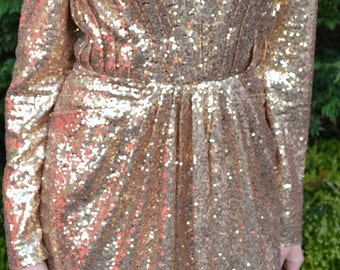 Ready to Wear 'Helena' gown vintage-inspired full sequin dress with plunging neckline and long sleeves
