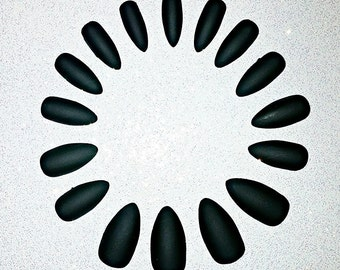 Black Matte Stiletto Nails- Fake Nails- Press on Nails- Glue on Nails- Acrylic Nails- Artificial Nails- Matte Nails- Stiletto Nails