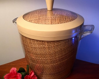 Vintage acrylic insulated woven raffia ice bucket with lid from the 60s