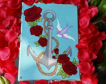 Anchor with Roses and a Bird