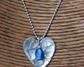 Sterling Silver Cast Heart with Kyanite Bead